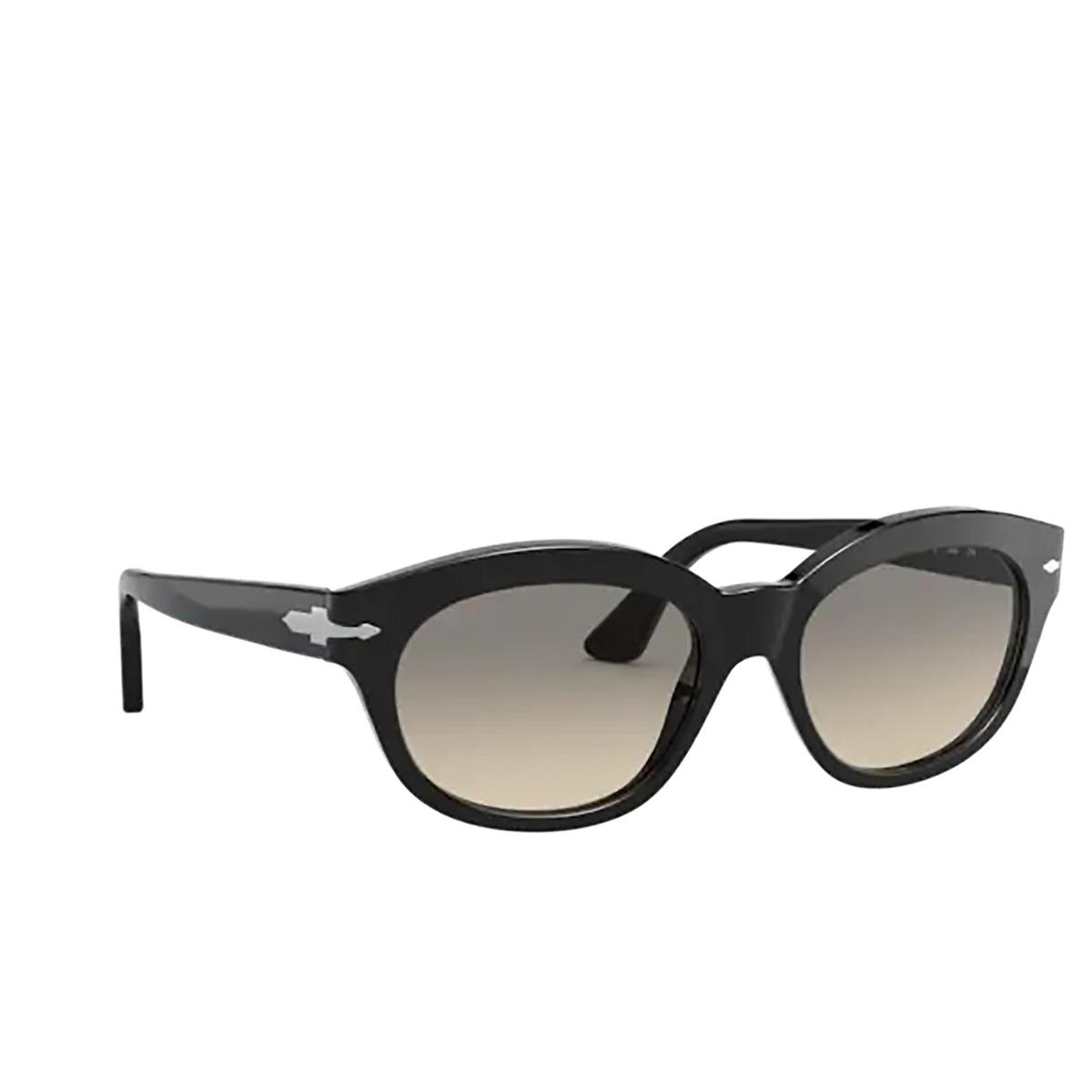 Persol® Oval Sunglasses: PO3250S color Black 95/32 - three-quarters view.
