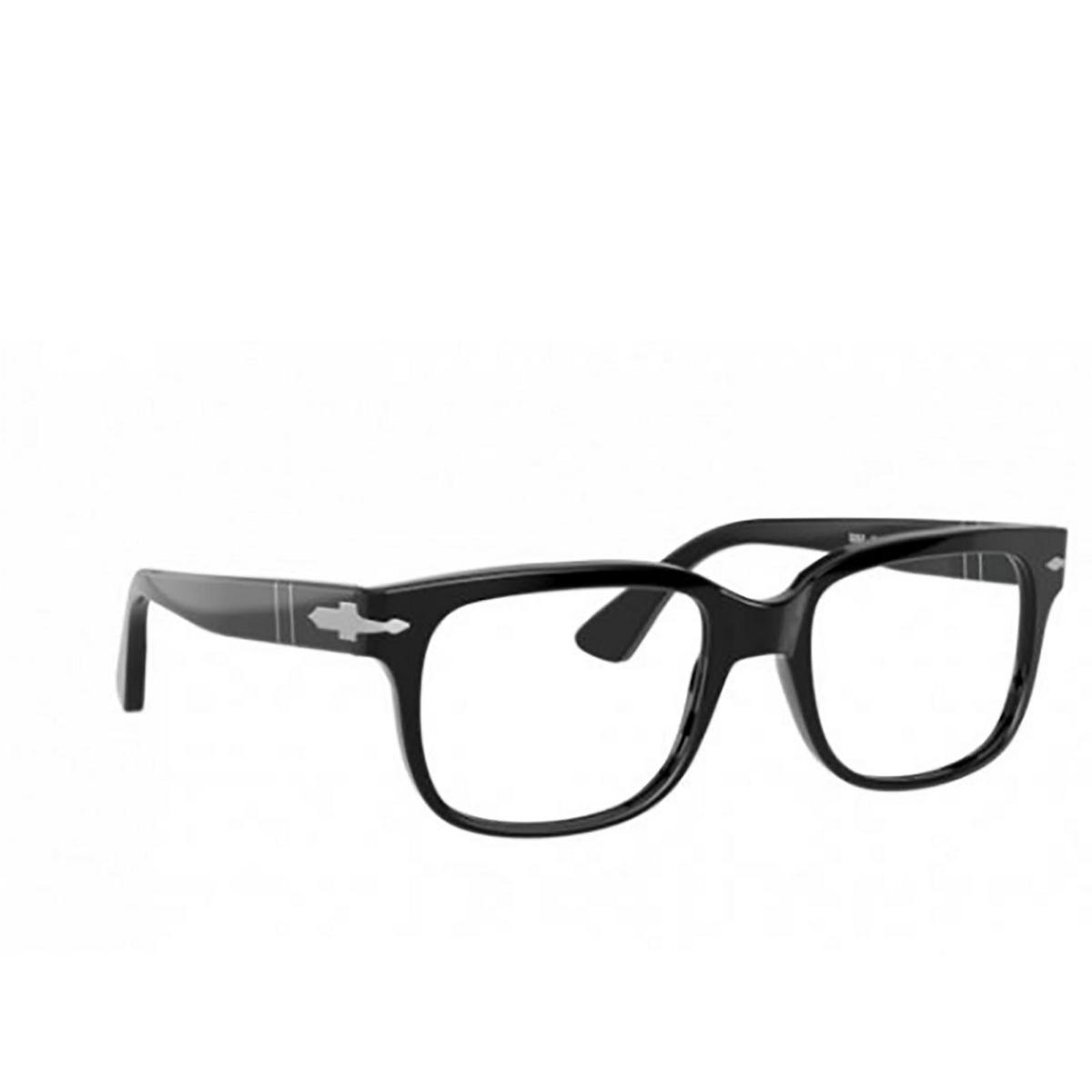 Persol® Square Eyeglasses: PO3252V color Black 95 - three-quarters view.