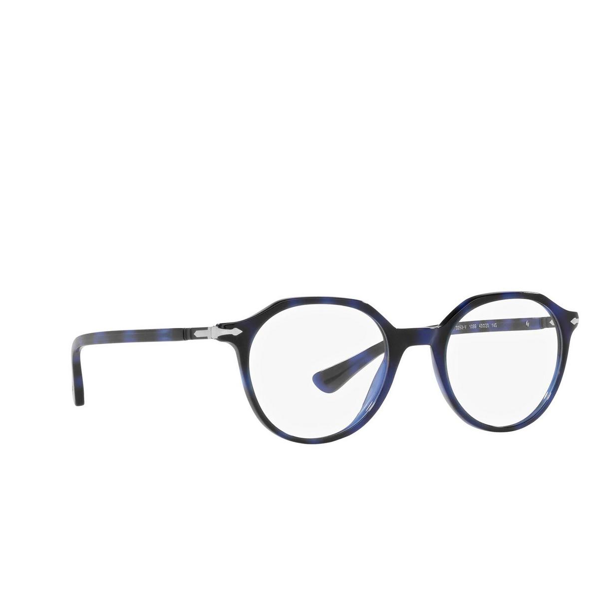 Persol® Irregular Eyeglasses: PO3253V color Blue 1099 - three-quarters view.