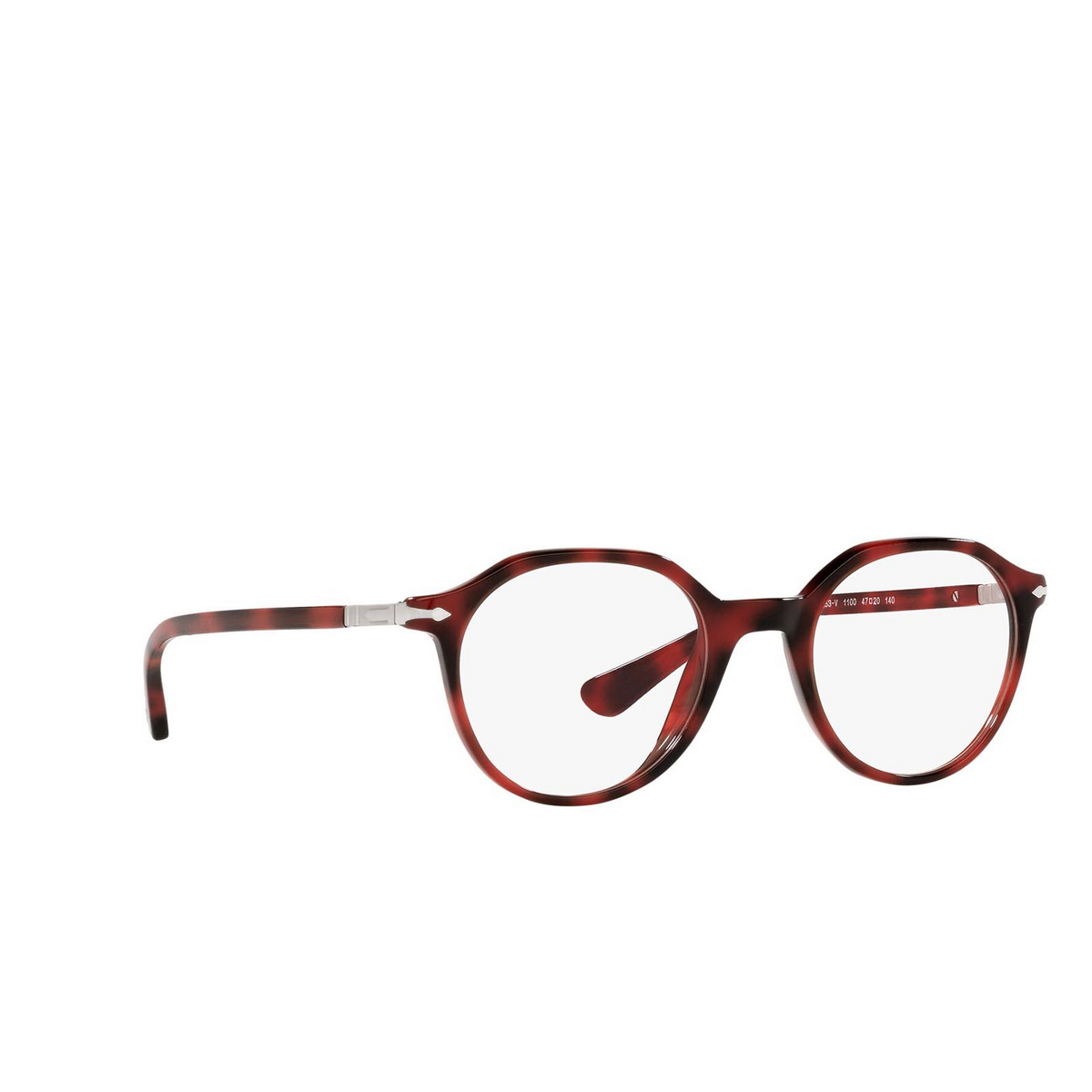 Persol® Irregular Eyeglasses: PO3253V color Red 1100 - three-quarters view.
