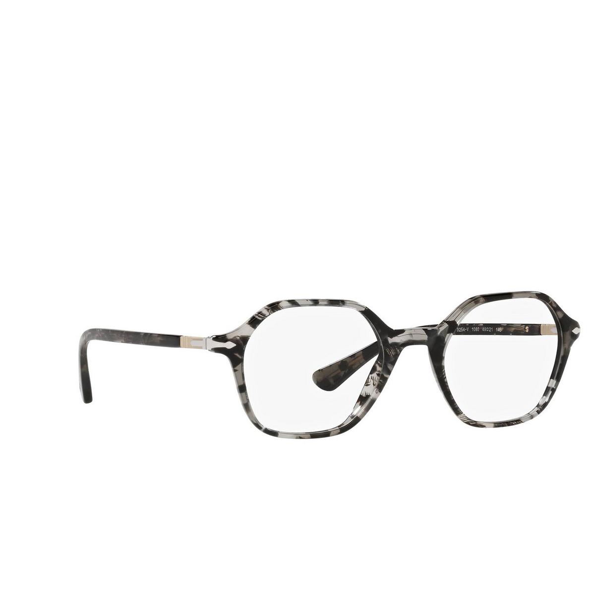Persol® Irregular Eyeglasses: PO3254V color Tortoise Grey 1080 - three-quarters view.