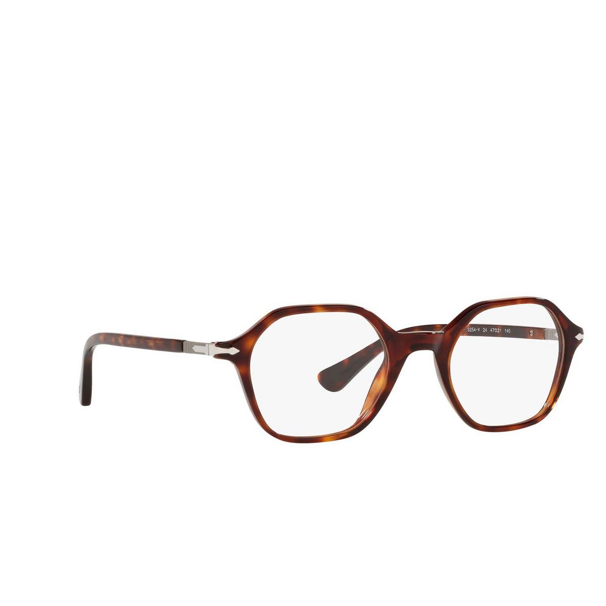 Persol® Irregular Eyeglasses: PO3254V color Havana 24 - three-quarters view.