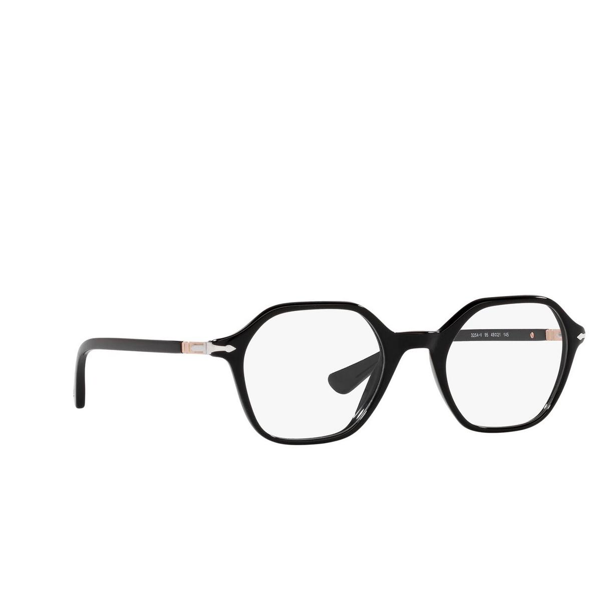 Persol® Irregular Eyeglasses: PO3254V color Black 95 - three-quarters view.
