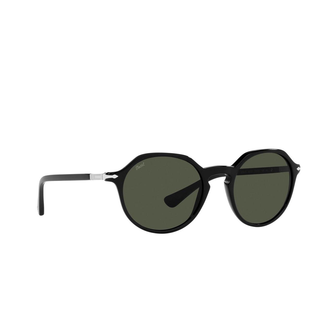 Persol® Irregular Sunglasses: PO3255S color Black 95/31 - three-quarters view.