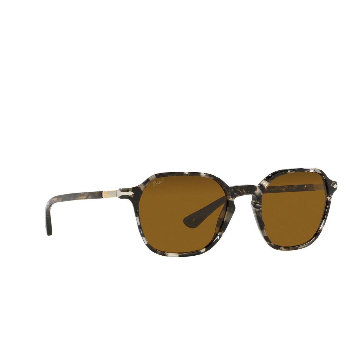 Persol® Square Sunglasses: PO3256S color Tortoise Grey Black 108033 - three-quarters view.