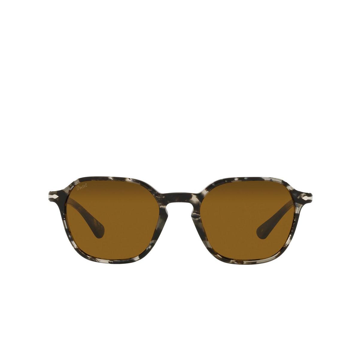 Persol® Square Sunglasses: PO3256S color Tortoise Grey Black 108033 - front view.
