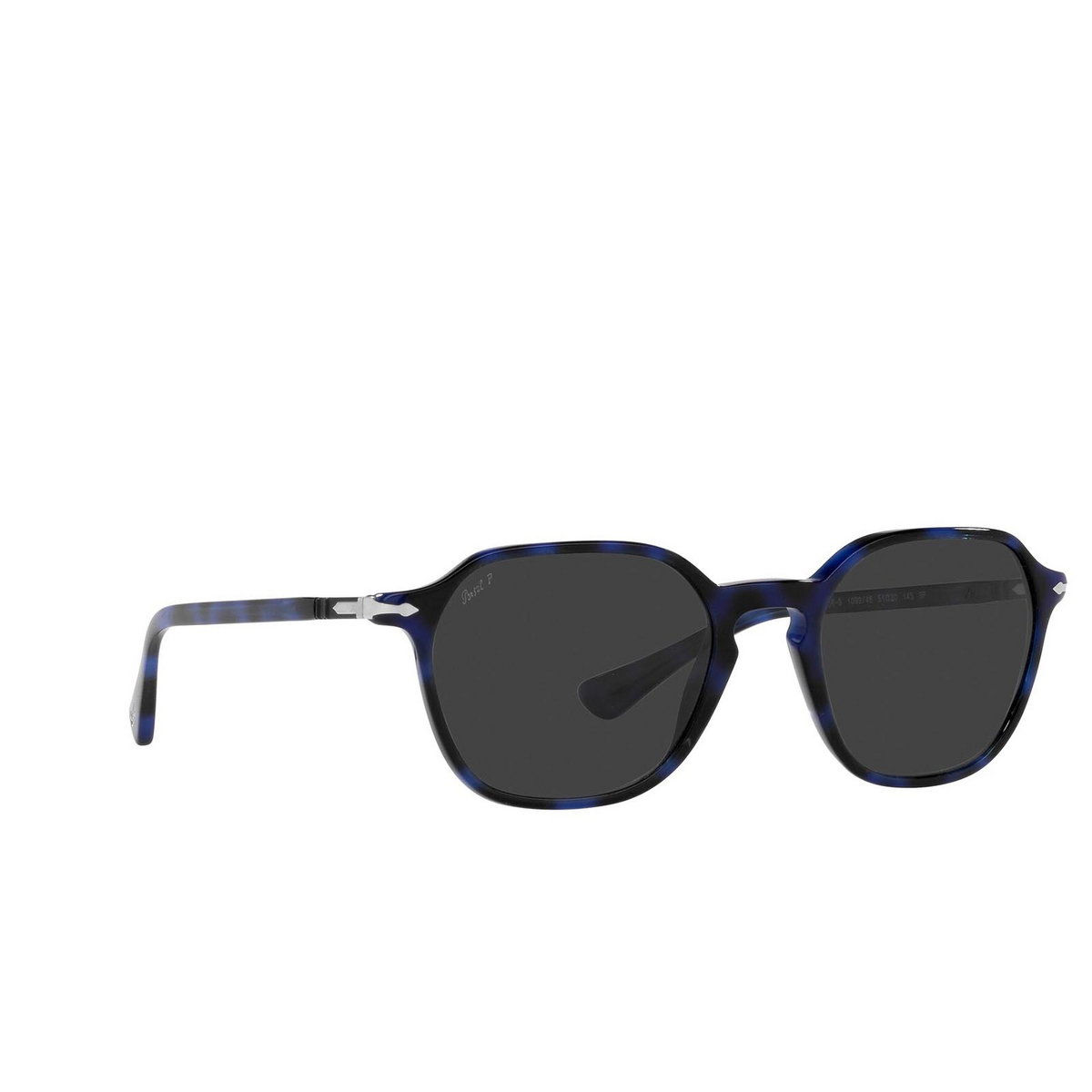 Persol® Square Sunglasses: PO3256S color Blue 109948 - three-quarters view.