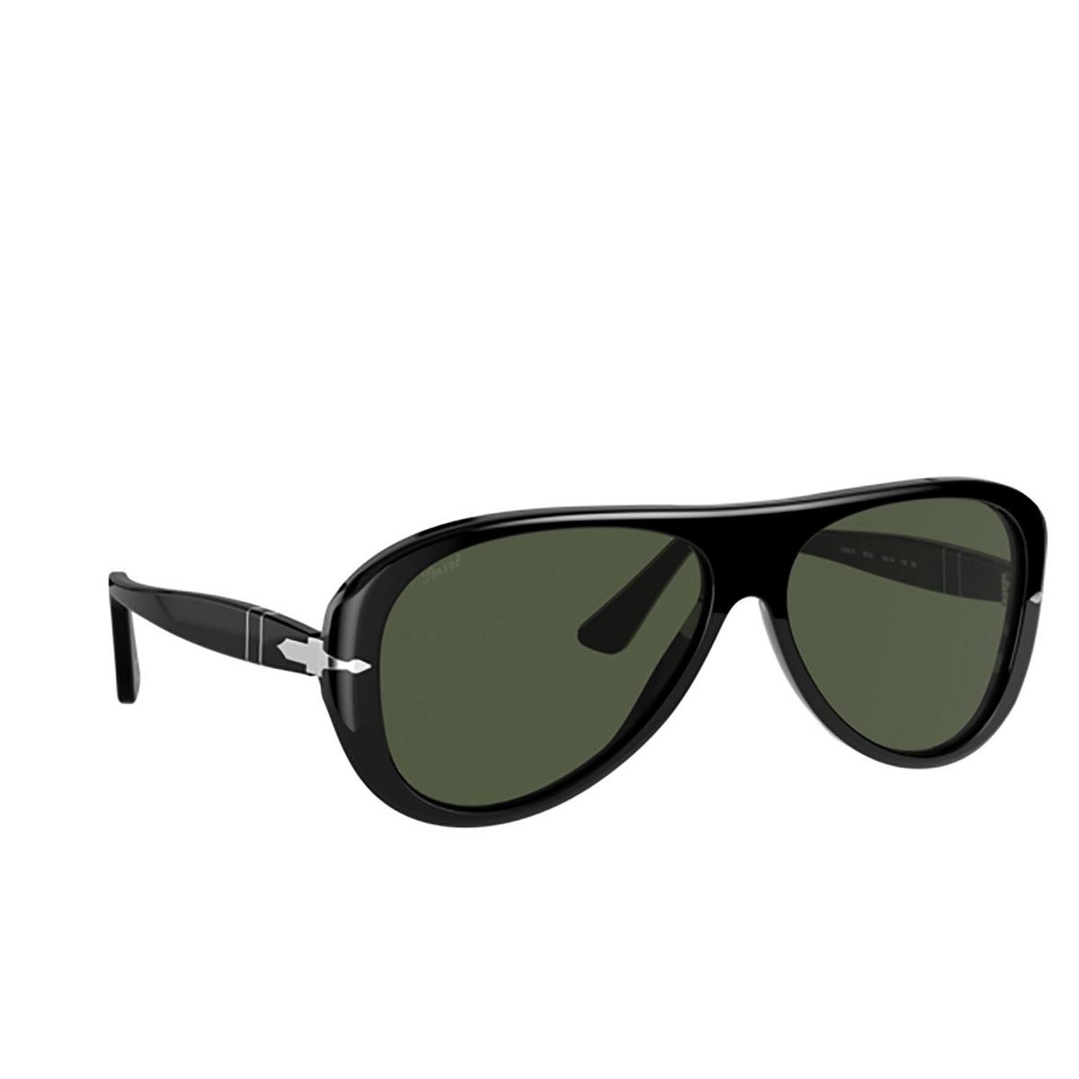 Persol® Aviator Sunglasses: PO3260S color Black 95/31 - three-quarters view.
