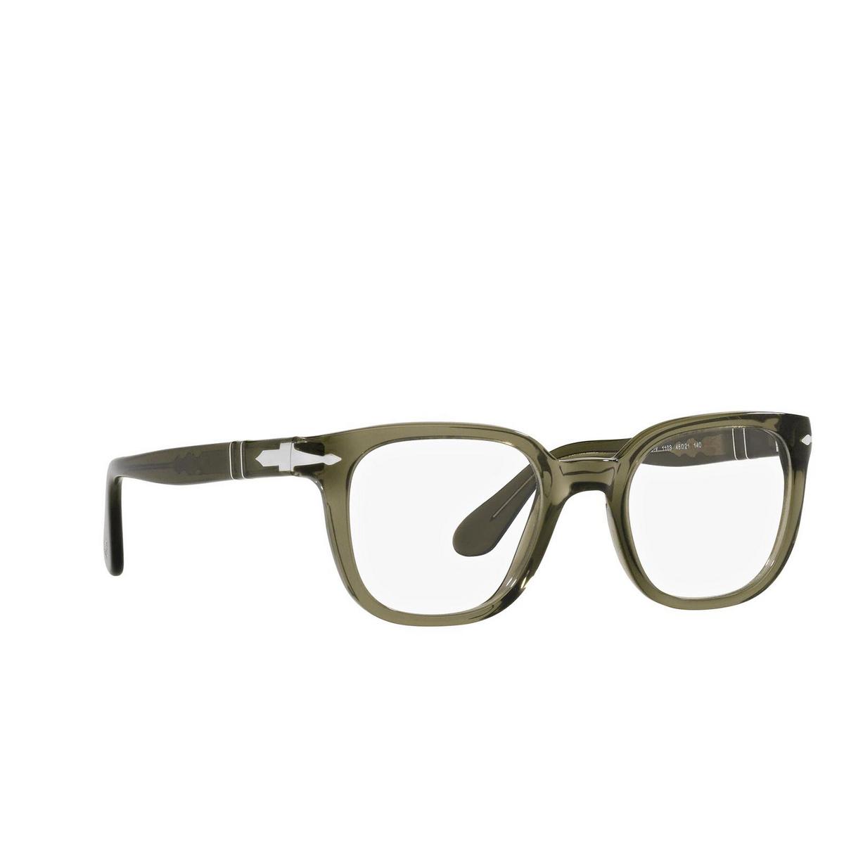 Persol® Square Eyeglasses: PO3263V color Grey 1103 - three-quarters view.