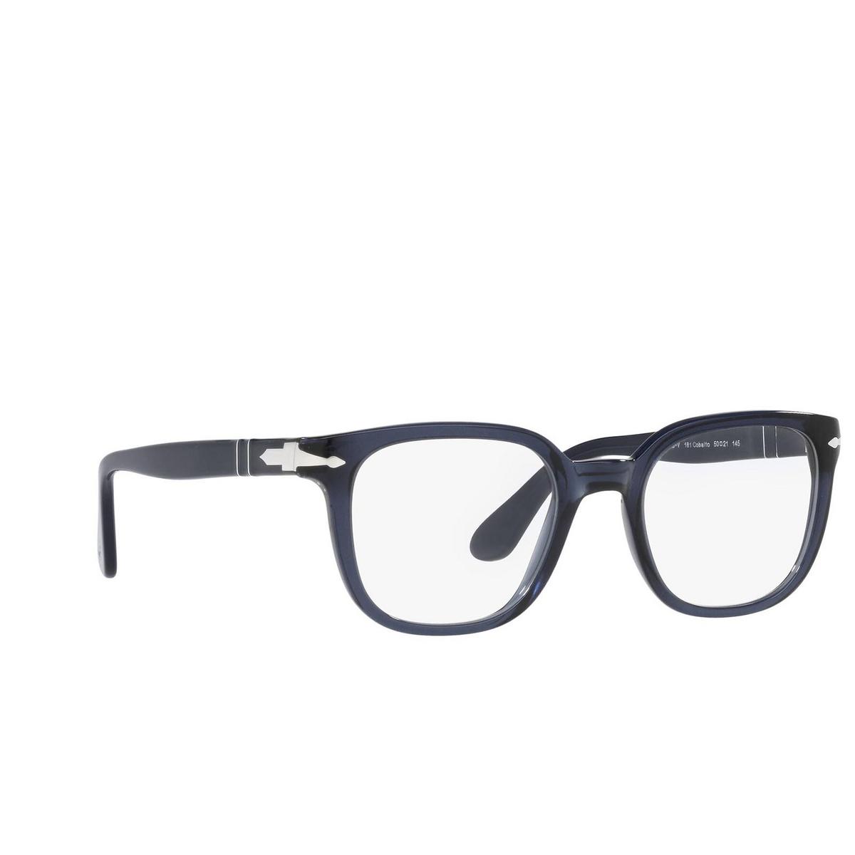 Persol® Square Eyeglasses: PO3263V color Cobalto 181 - three-quarters view.