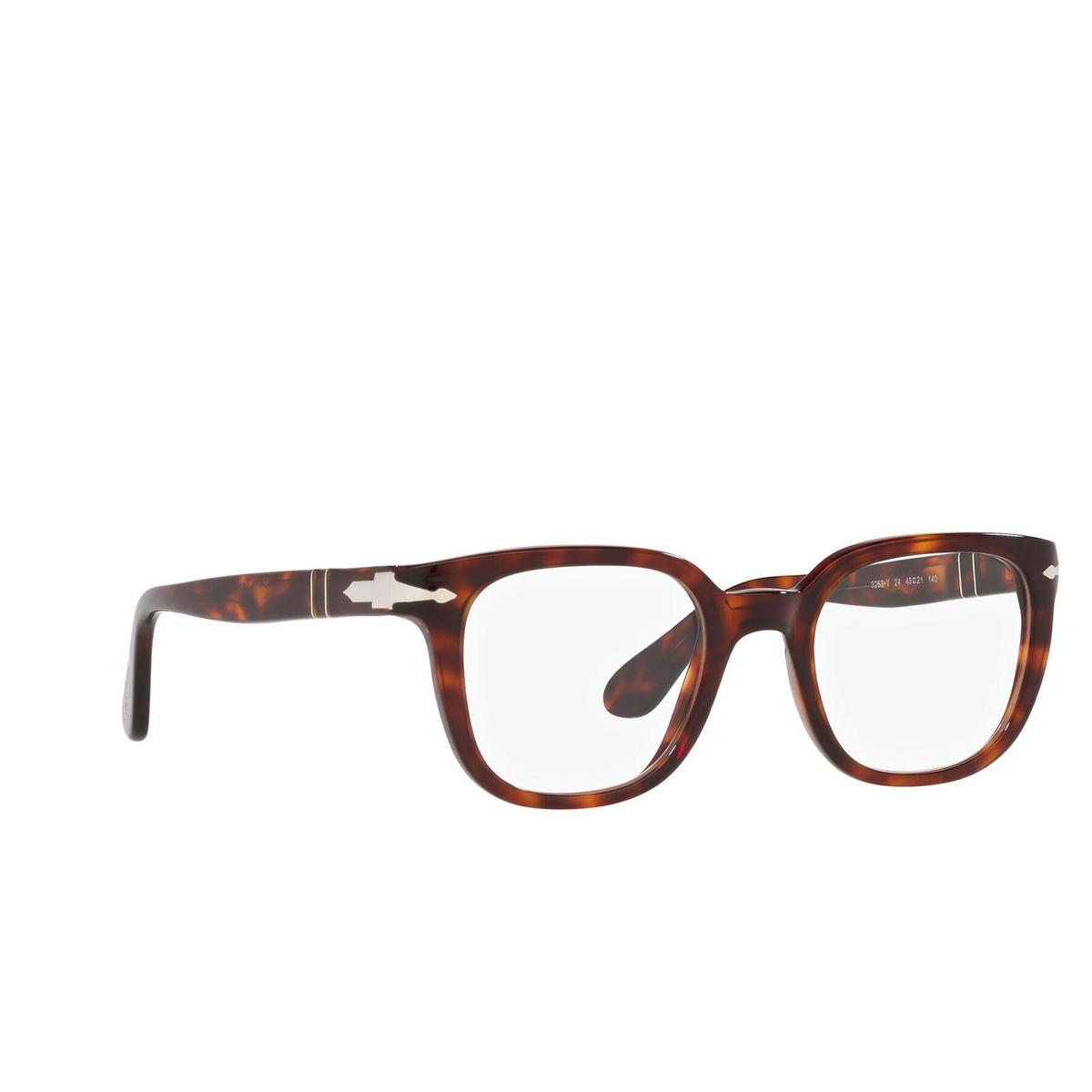Persol® Square Eyeglasses: PO3263V color Havana 24 - three-quarters view.