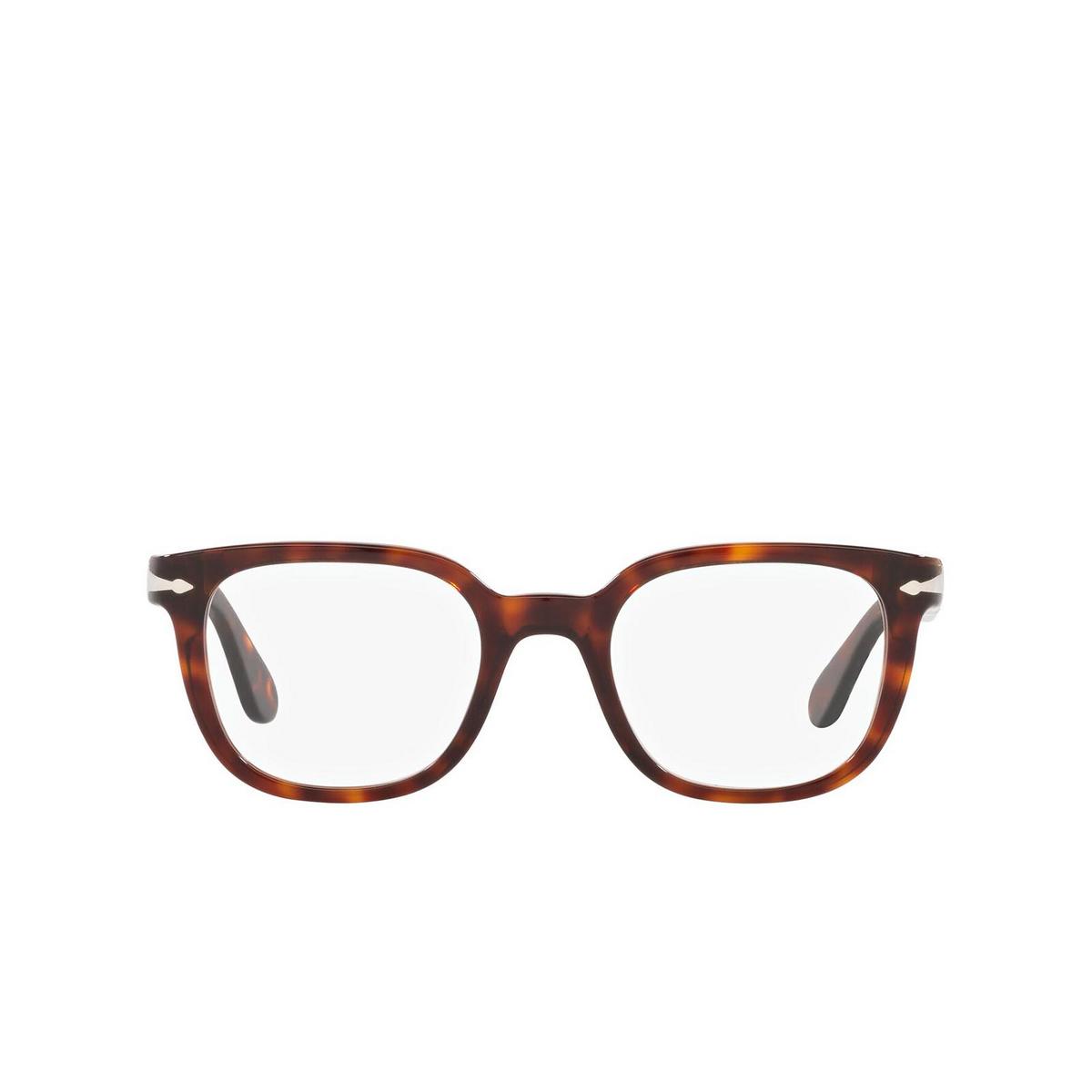 Persol® Square Eyeglasses: PO3263V color Havana 24 - front view.