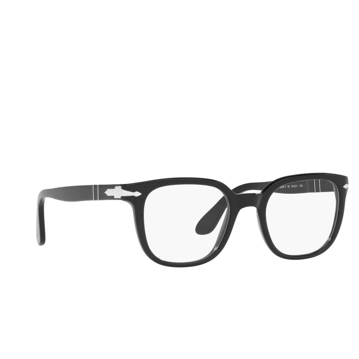 Persol® Square Eyeglasses: PO3263V color Black 95 - three-quarters view.