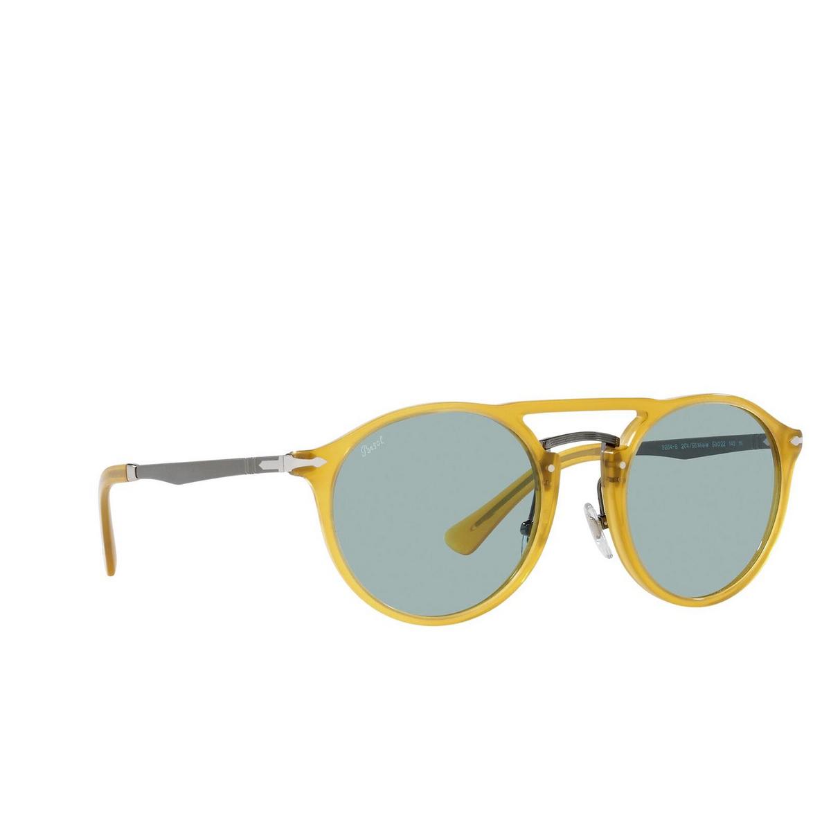 Persol® Round Sunglasses: PO3264S color Honey 204/56 - three-quarters view.