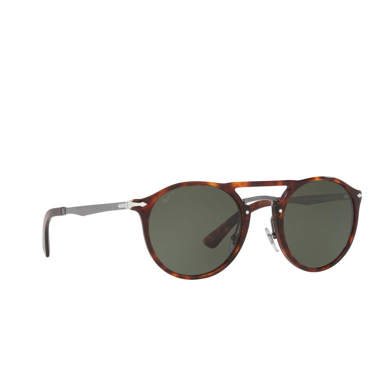Persol® Round Sunglasses: PO3264S color Havana / Gunmetal 24/58.