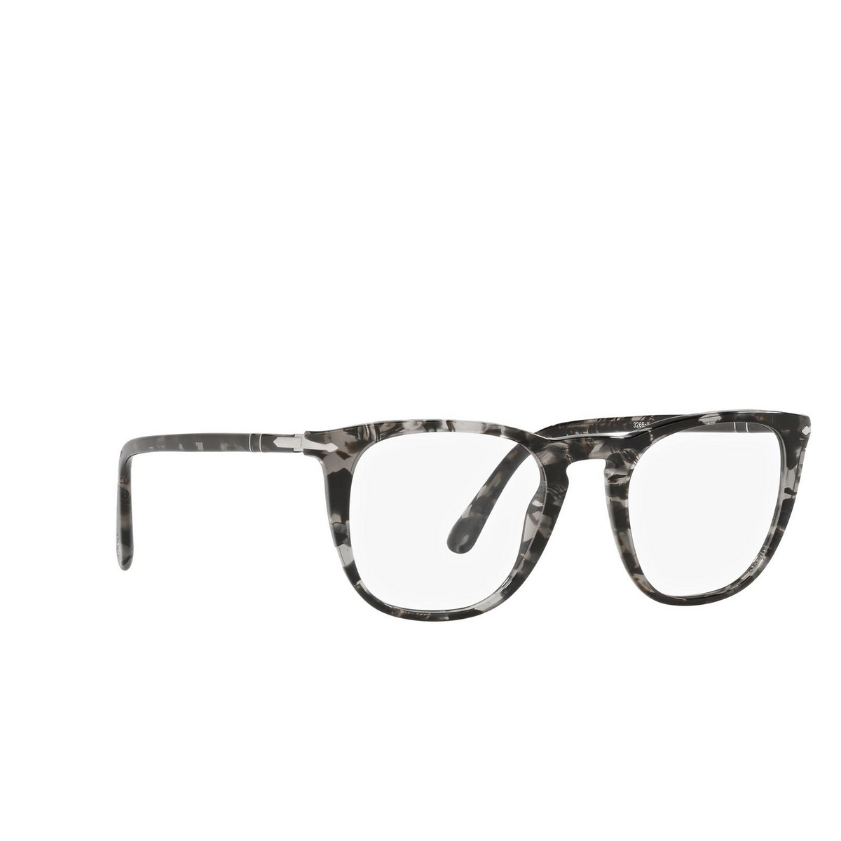 Persol® Square Eyeglasses: PO3266V color Grey Havana 1080 - three-quarters view.