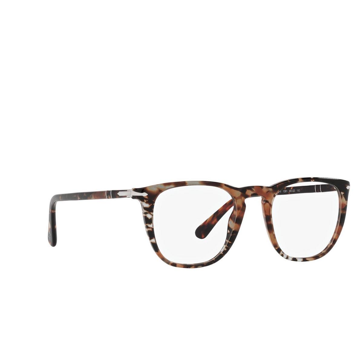 Persol® Square Eyeglasses: PO3266V color Havana 1081 - three-quarters view.