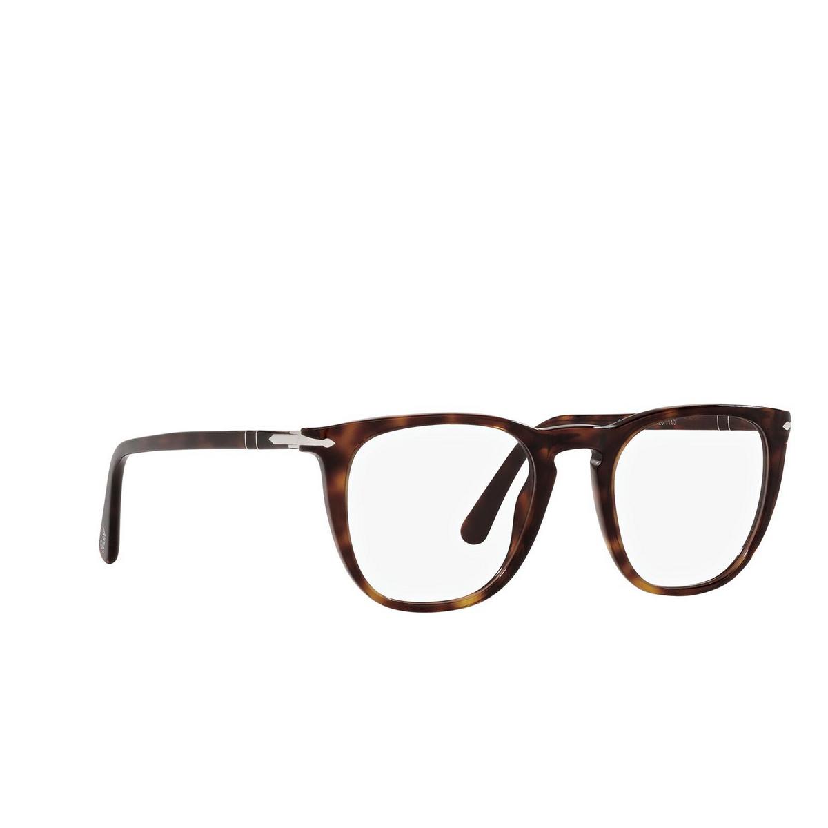 Persol® Square Eyeglasses: PO3266V color Havana 24 - three-quarters view.