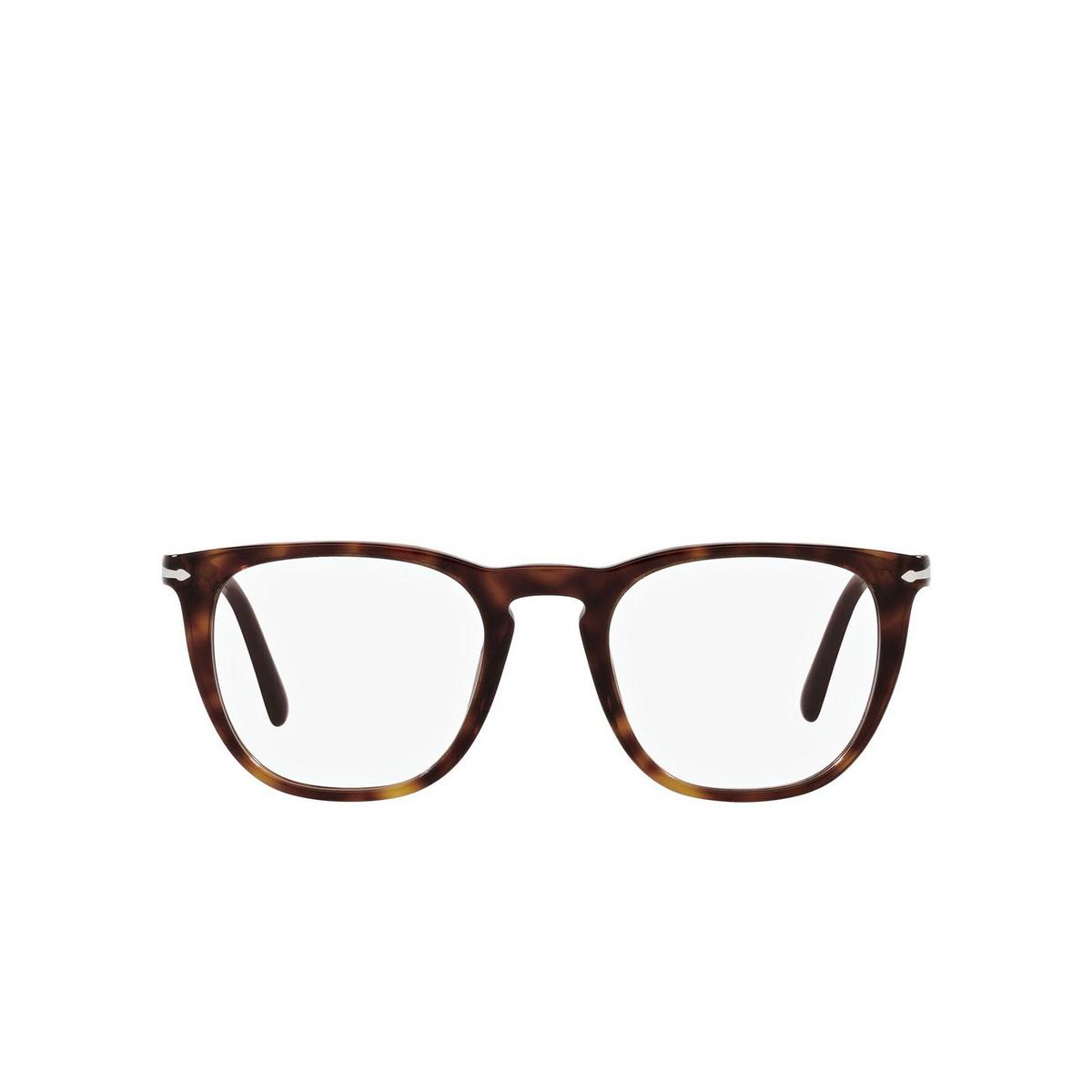Persol® Square Eyeglasses: PO3266V color Havana 24 - front view.