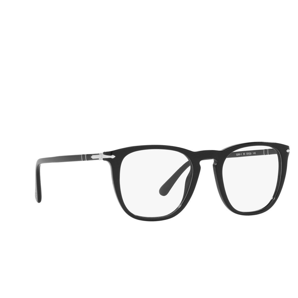 Persol® Square Eyeglasses: PO3266V color Black 95 - three-quarters view.