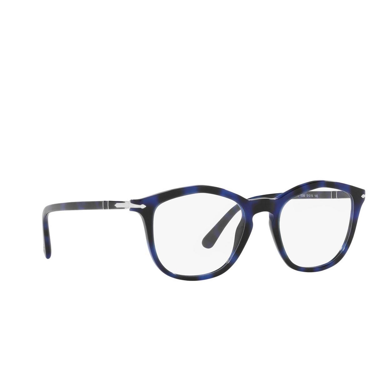 Persol® Irregular Eyeglasses: PO3267V color Spotted Blue 1099 - three-quarters view.
