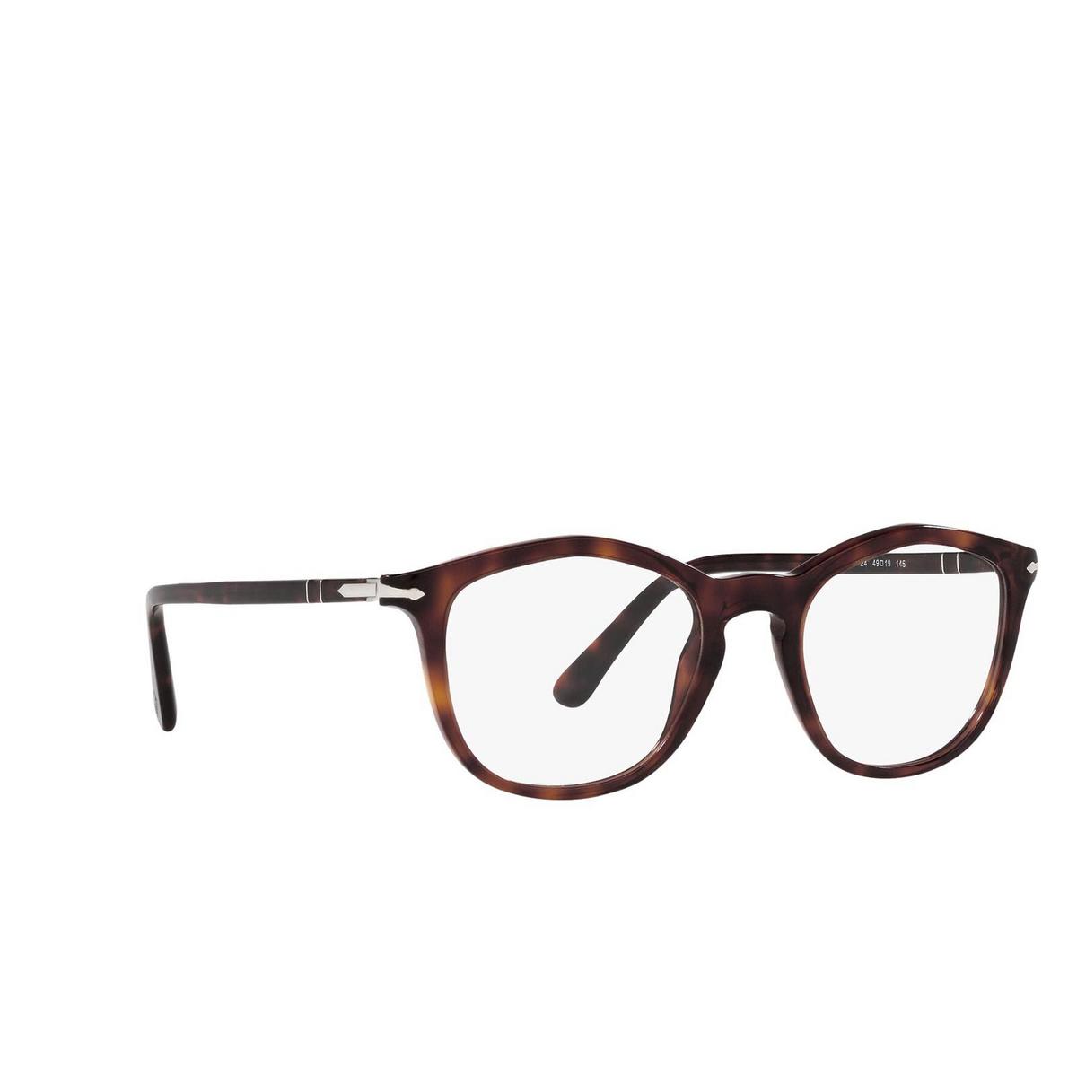 Persol® Irregular Eyeglasses: PO3267V color Havana 24 - three-quarters view.