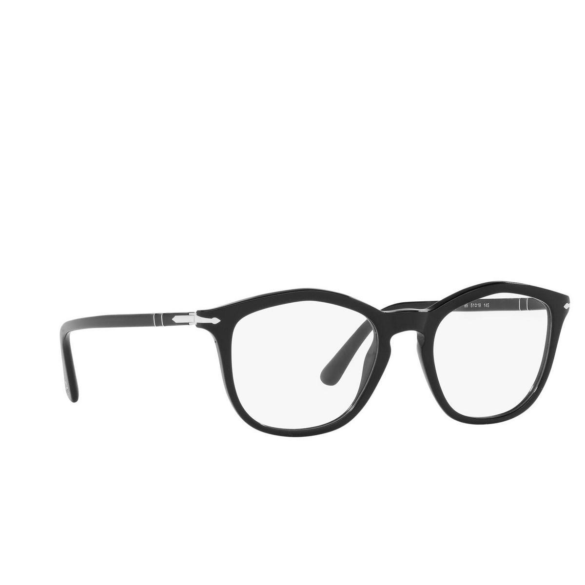 Persol® Irregular Eyeglasses: PO3267V color Black 95 - three-quarters view.