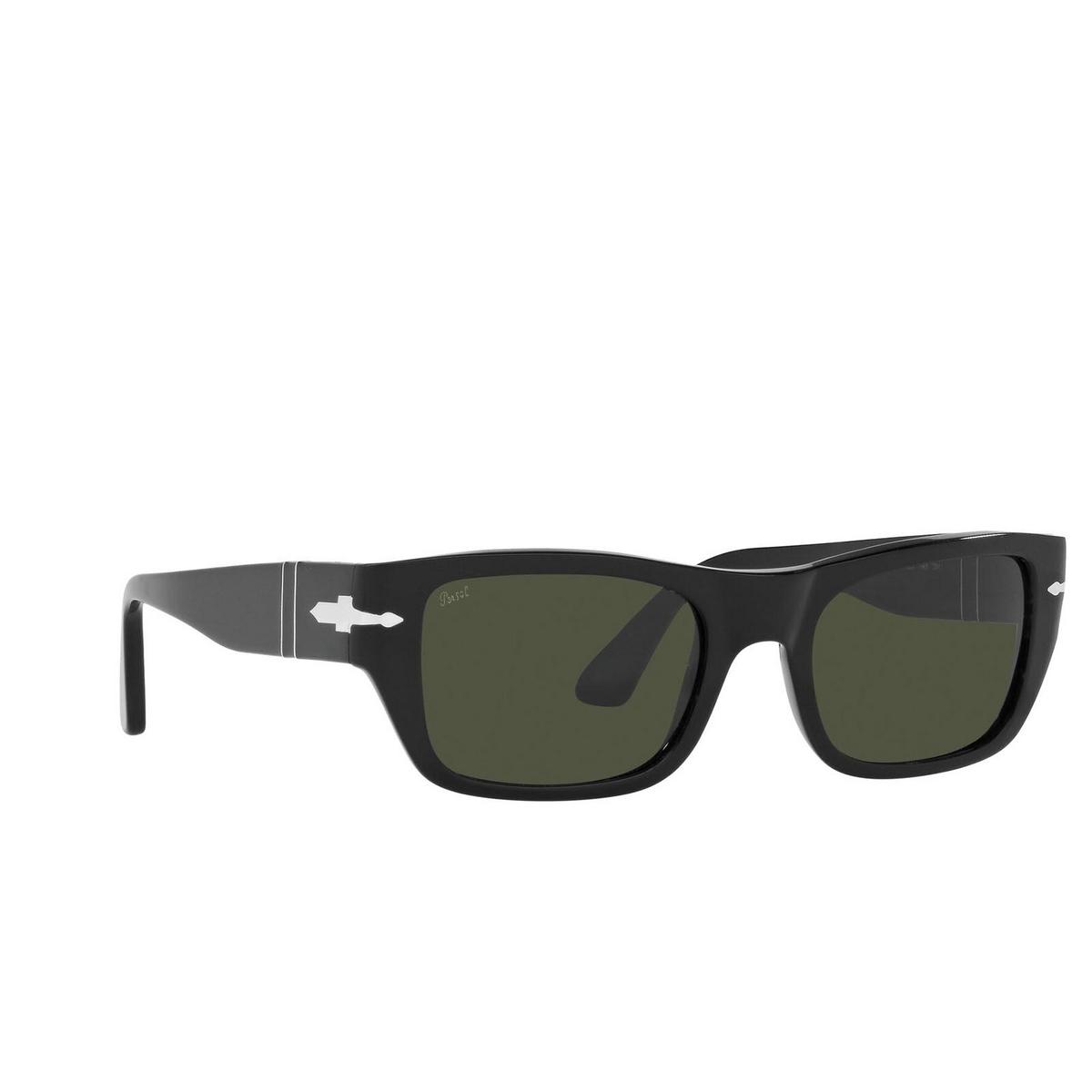 Persol® Rectangle Sunglasses: PO3268S color Black 95/31 - three-quarters view.