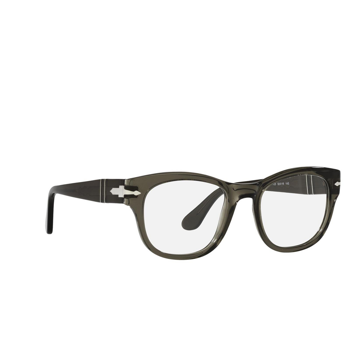 Persol® Square Eyeglasses: PO3270V color Opal Smoke 1103 - three-quarters view.