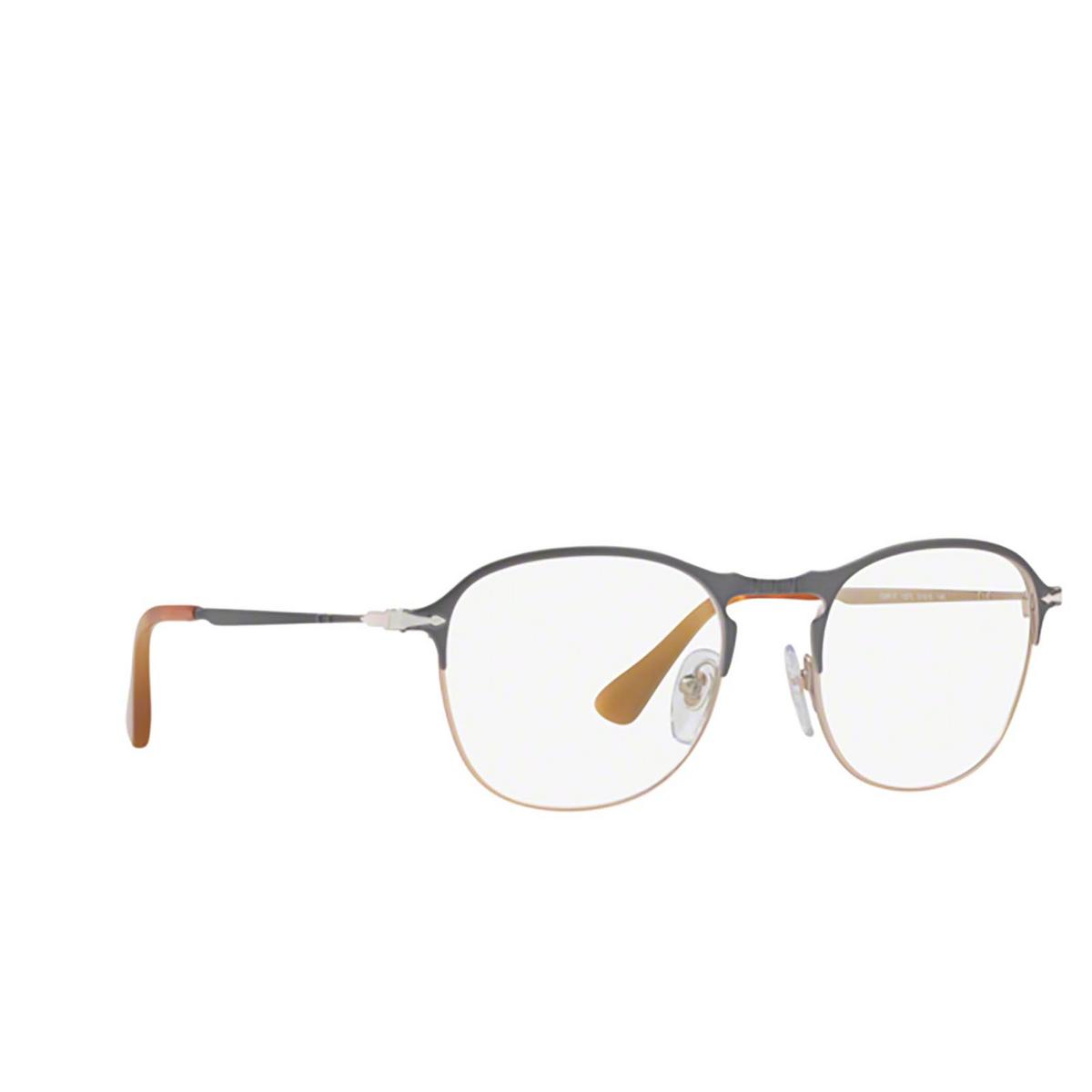 Persol® Square Eyeglasses: PO7007V color Grey / Light Brown 1071 - three-quarters view.