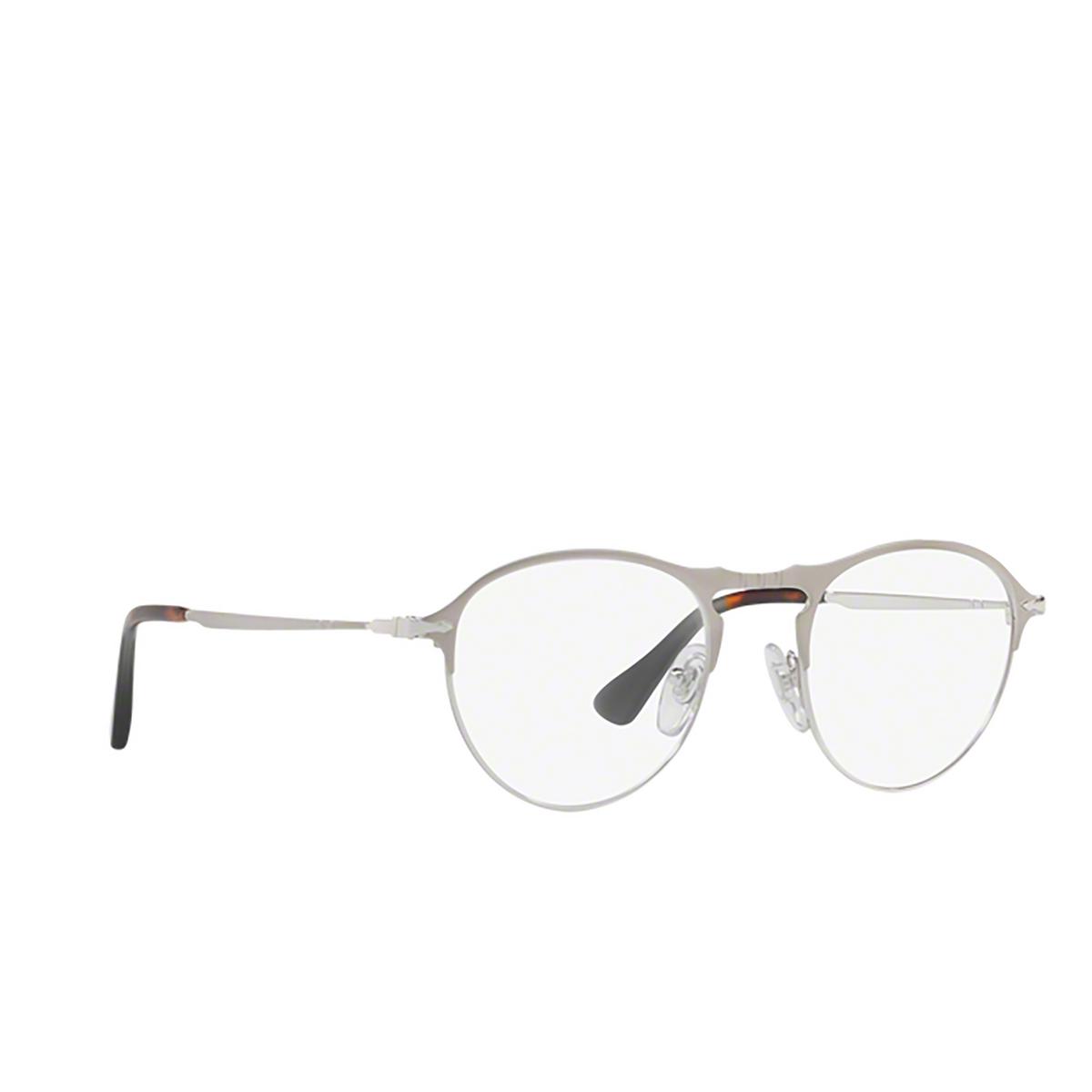 Persol® Round Eyeglasses: PO7092V color Matte Silver / Silver 1068 - three-quarters view.