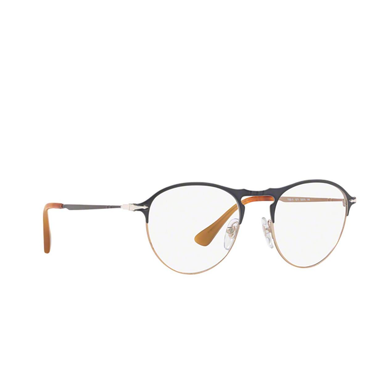 Persol® Round Eyeglasses: PO7092V color Matte Grey / Light Brown 1071 - three-quarters view.