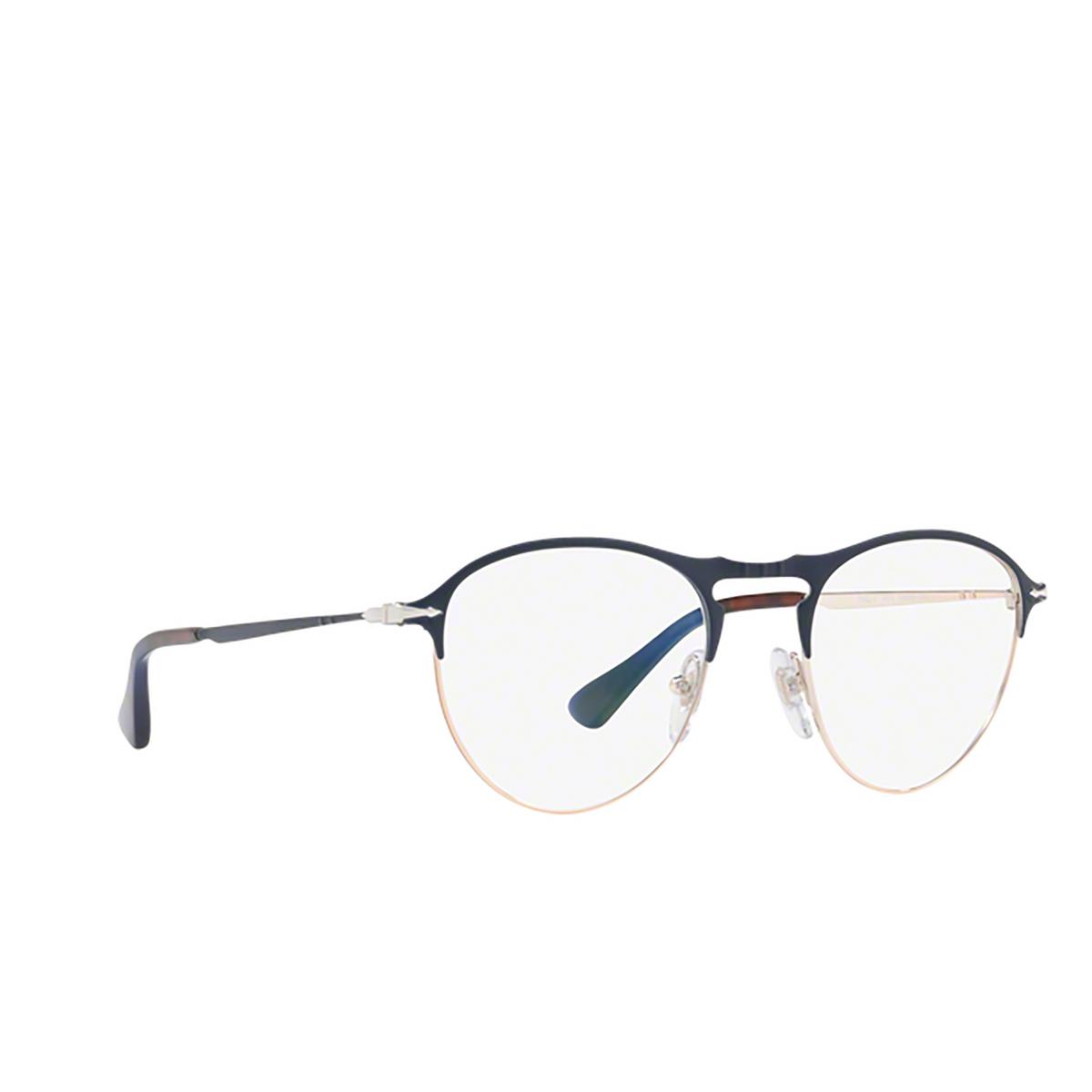 Persol® Round Eyeglasses: PO7092V color Blue / Bronze 1073 - three-quarters view.