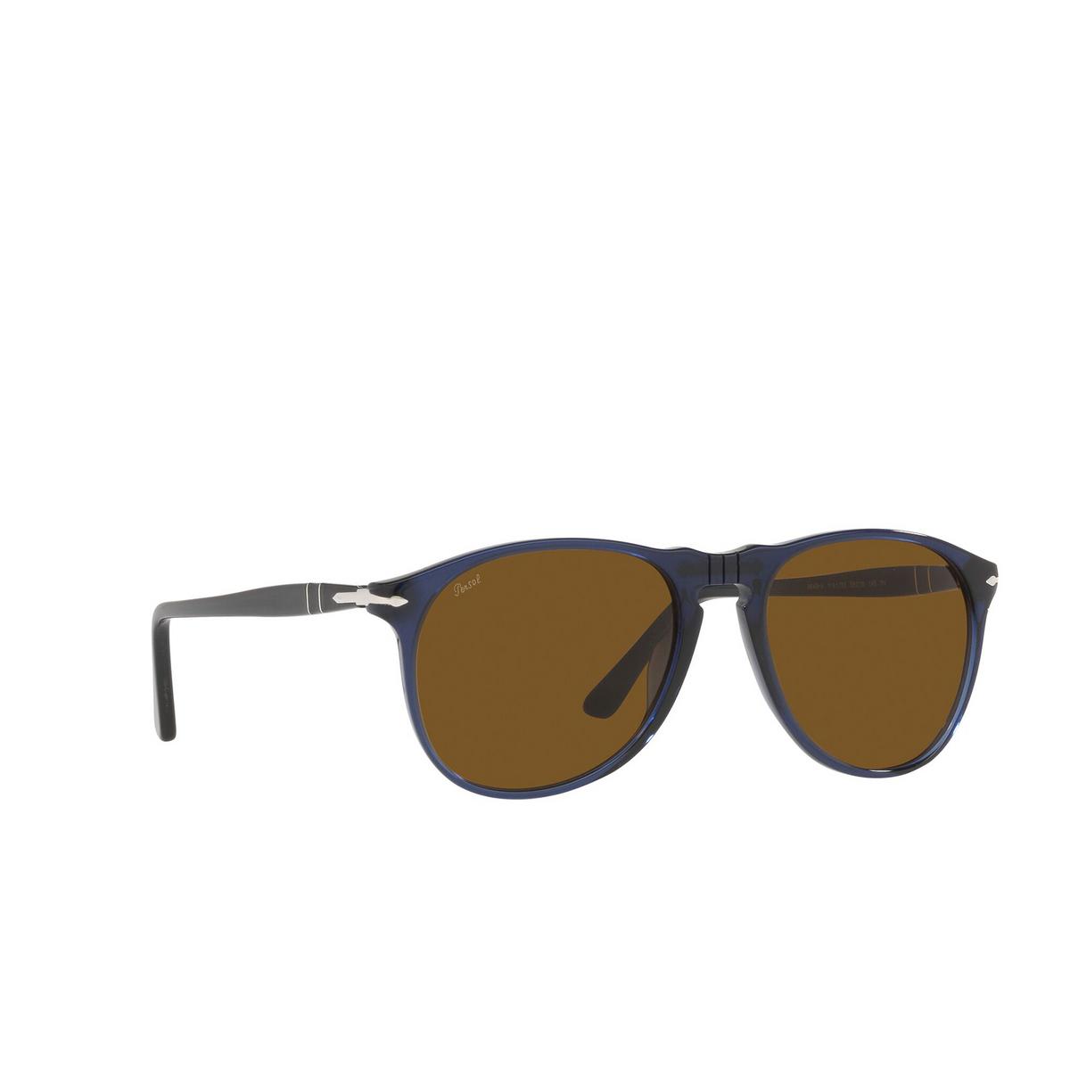Persol® Aviator Sunglasses: PO9649S color Transparent Blue 114133 - three-quarters view.