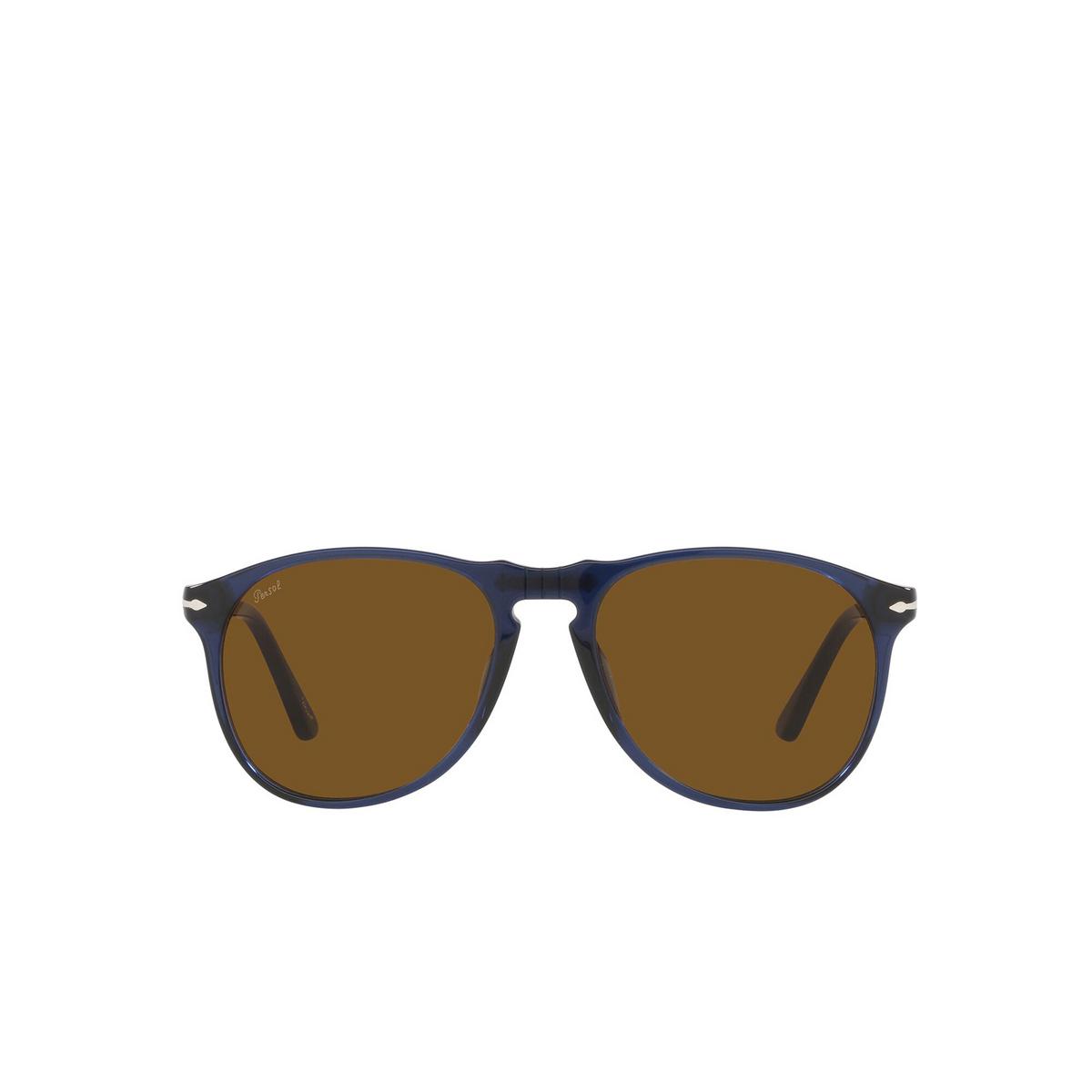 Persol® Aviator Sunglasses: PO9649S color Transparent Blue 114133 - front view.
