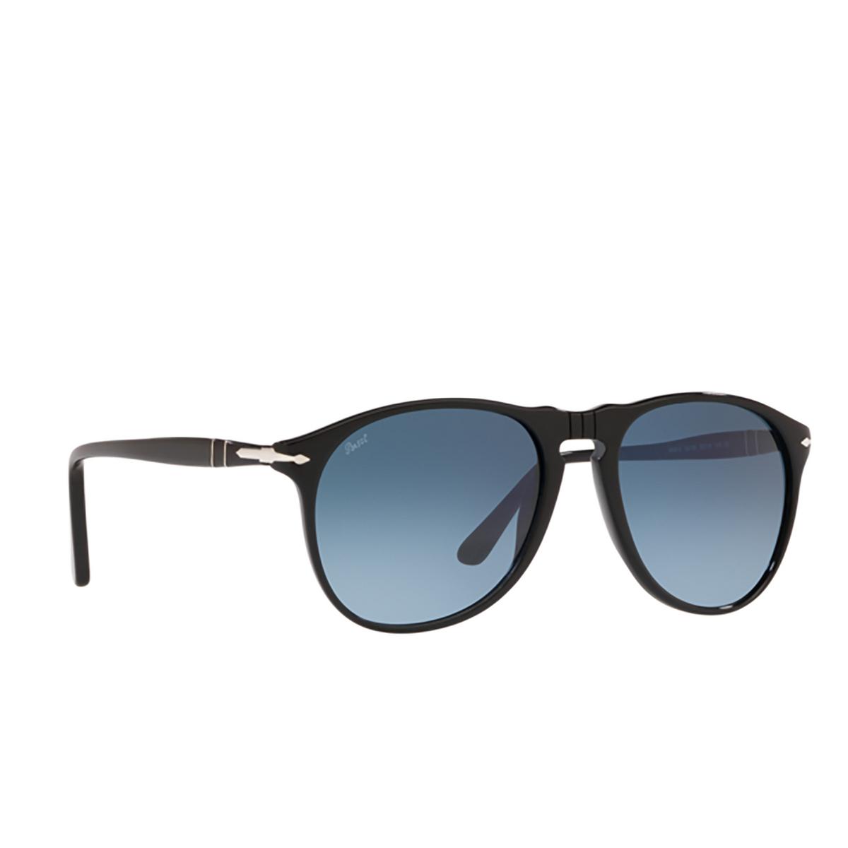 Persol® Aviator Sunglasses: PO9649S color Black 95/Q8 - three-quarters view.