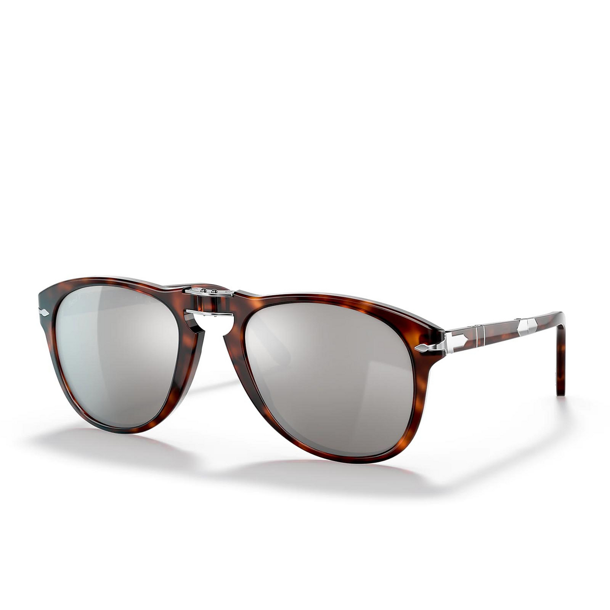Persol® Aviator Sunglasses: Steve Mcqueen PO0714SM color Havana 24/AP - three-quarters view.