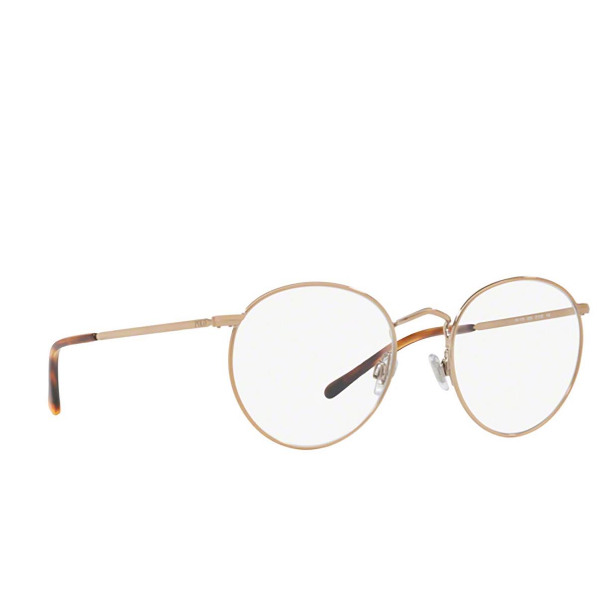Polo Ralph Lauren® Round Eyeglasses: PH1179 color Shiny Dark Rose Gold 9334 - three-quarters view.