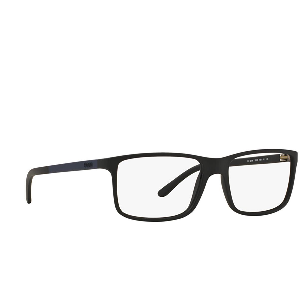Polo Ralph Lauren® Rectangle Eyeglasses: PH2126 color Matte Black 5505 - three-quarters view.