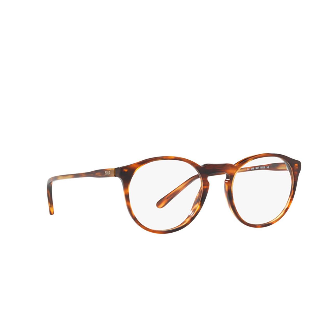 Polo Ralph Lauren® Round Eyeglasses: PH2180 color Shiny Striped Havana 5007 - three-quarters view.