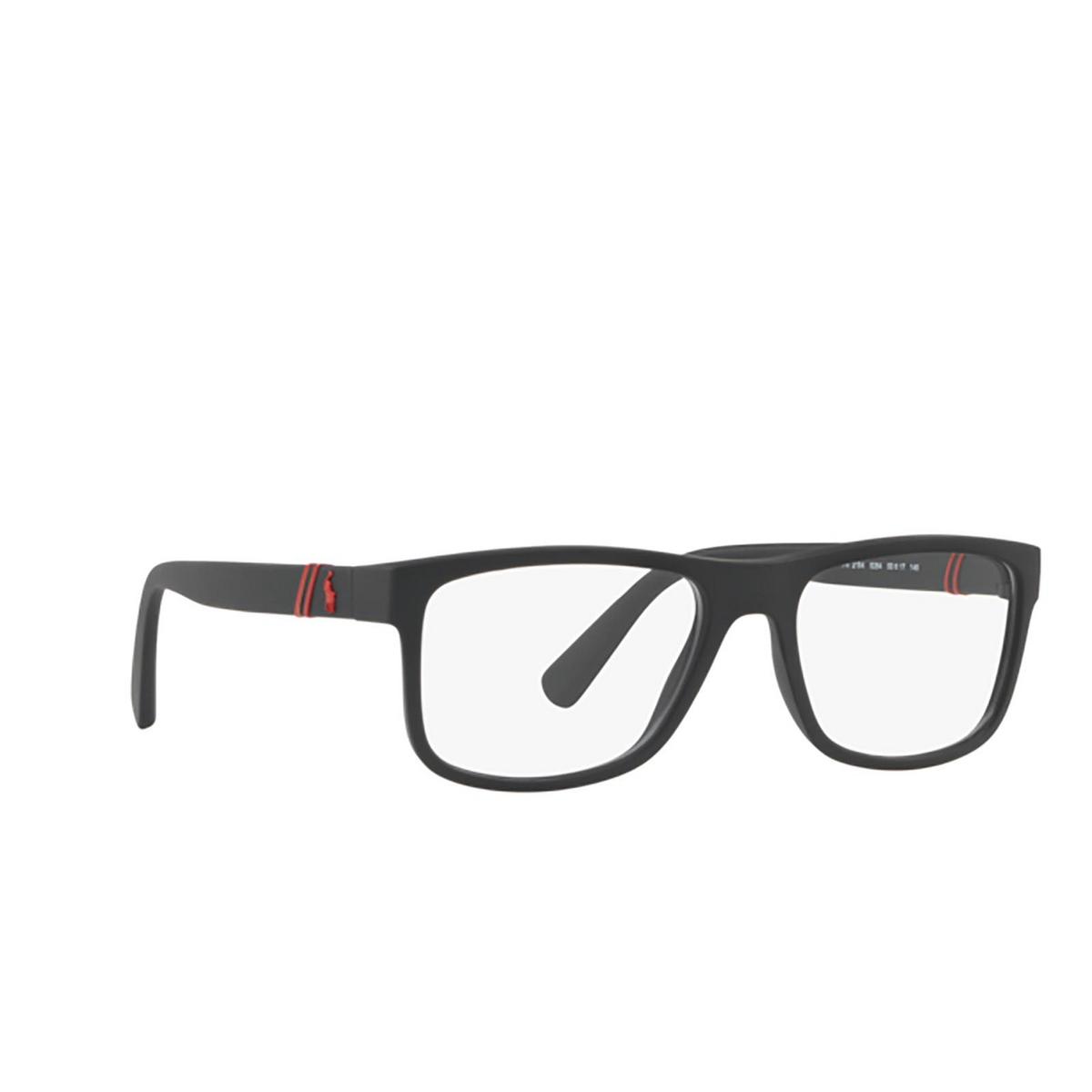 Polo Ralph Lauren® Rectangle Eyeglasses: PH2184 color Matte Black 5284 - three-quarters view.