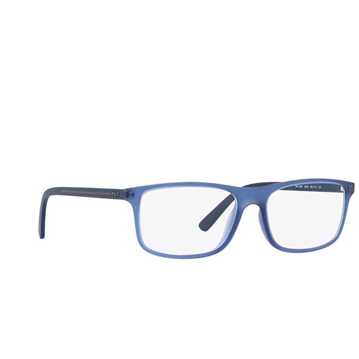 Polo Ralph Lauren® Rectangle Eyeglasses: PH2197 color Matte Transparent Blue 5735 - three-quarters view.