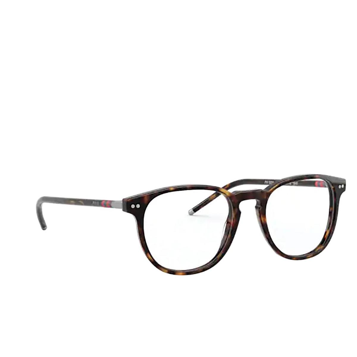 Polo Ralph Lauren® Square Eyeglasses: PH2225 color Shiny Dark Havana 5003 - three-quarters view.