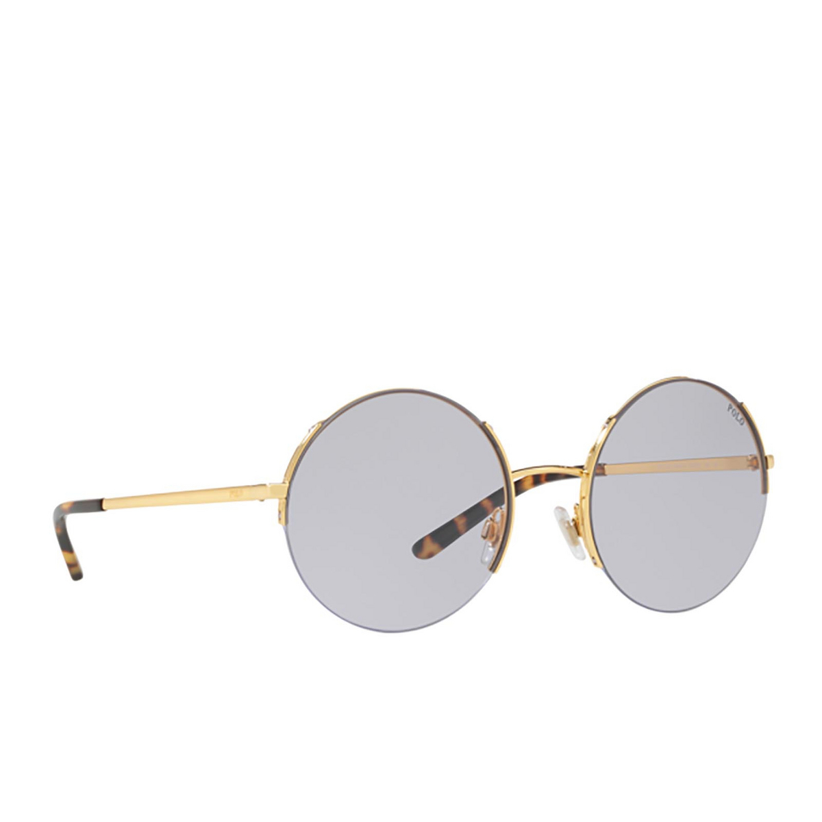 Polo Ralph Lauren® Round Sunglasses: PH3120 color Gold 90041A - three-quarters view.