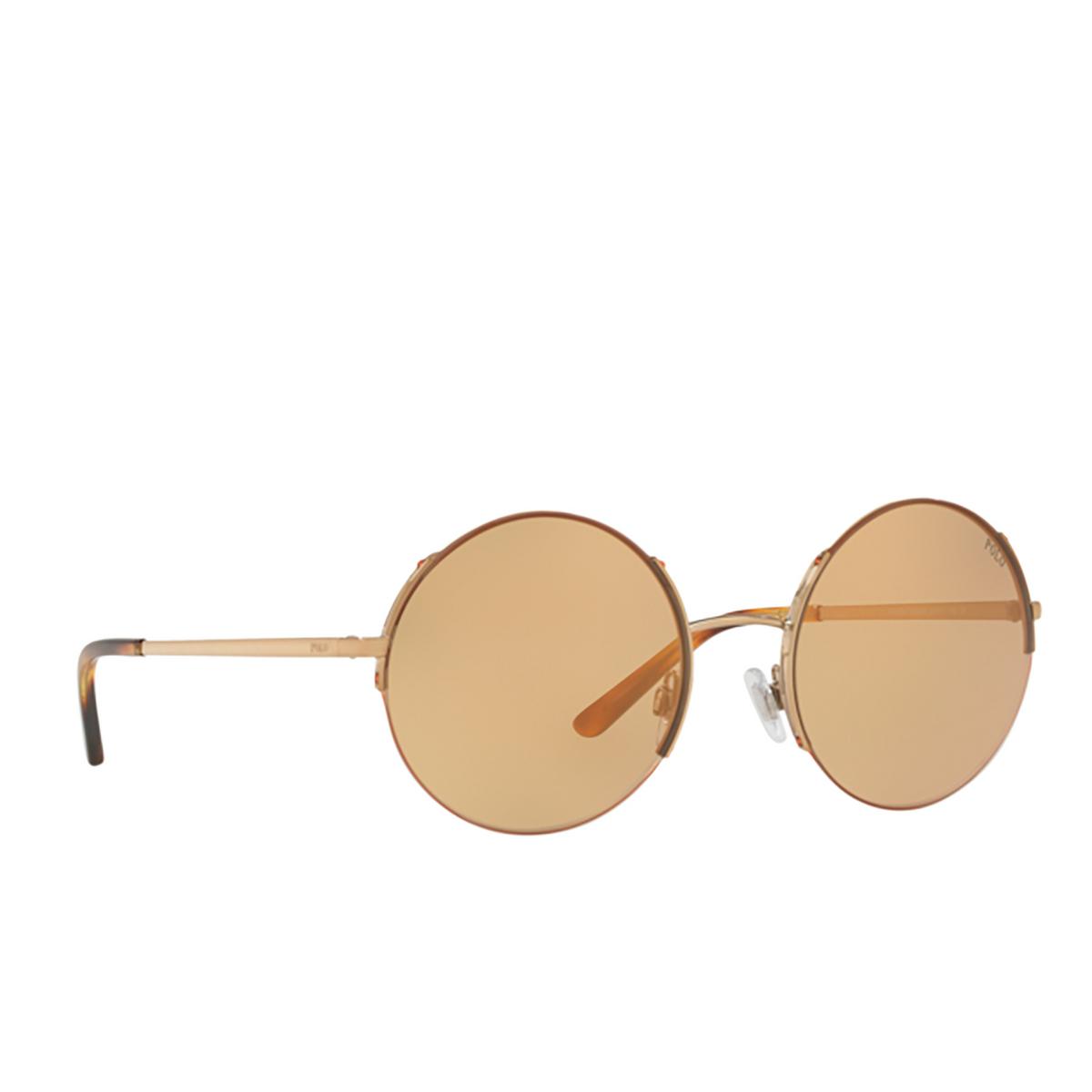 Polo Ralph Lauren® Round Sunglasses: PH3120 color Shiny Rose Gold 9334R1.