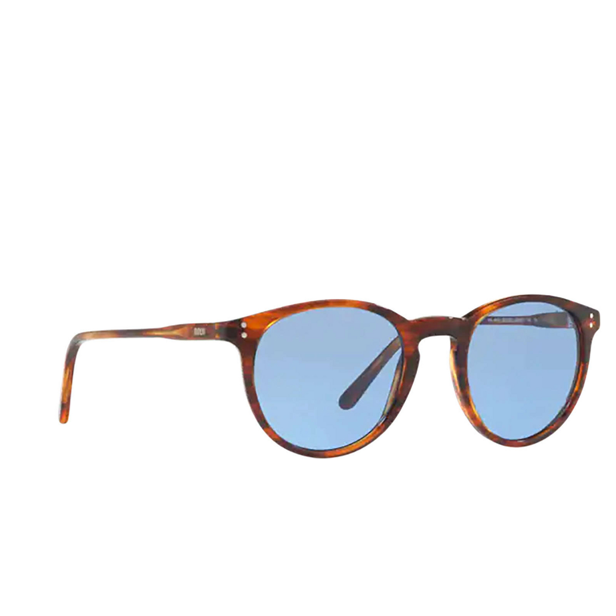 Polo Ralph Lauren® Round Sunglasses: PH4110 color Shiny Striped Havana 500772 - three-quarters view.