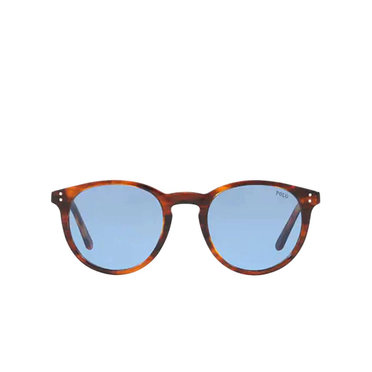 Polo Ralph Lauren® Round Sunglasses: PH4110 color Shiny Striped Havana 500772 - front view.
