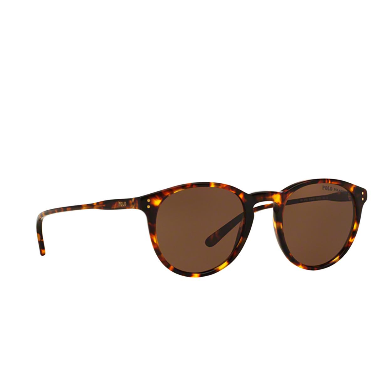 Polo Ralph Lauren® Round Sunglasses: PH4110 color Shiny Antique Havana 513473 - three-quarters view.