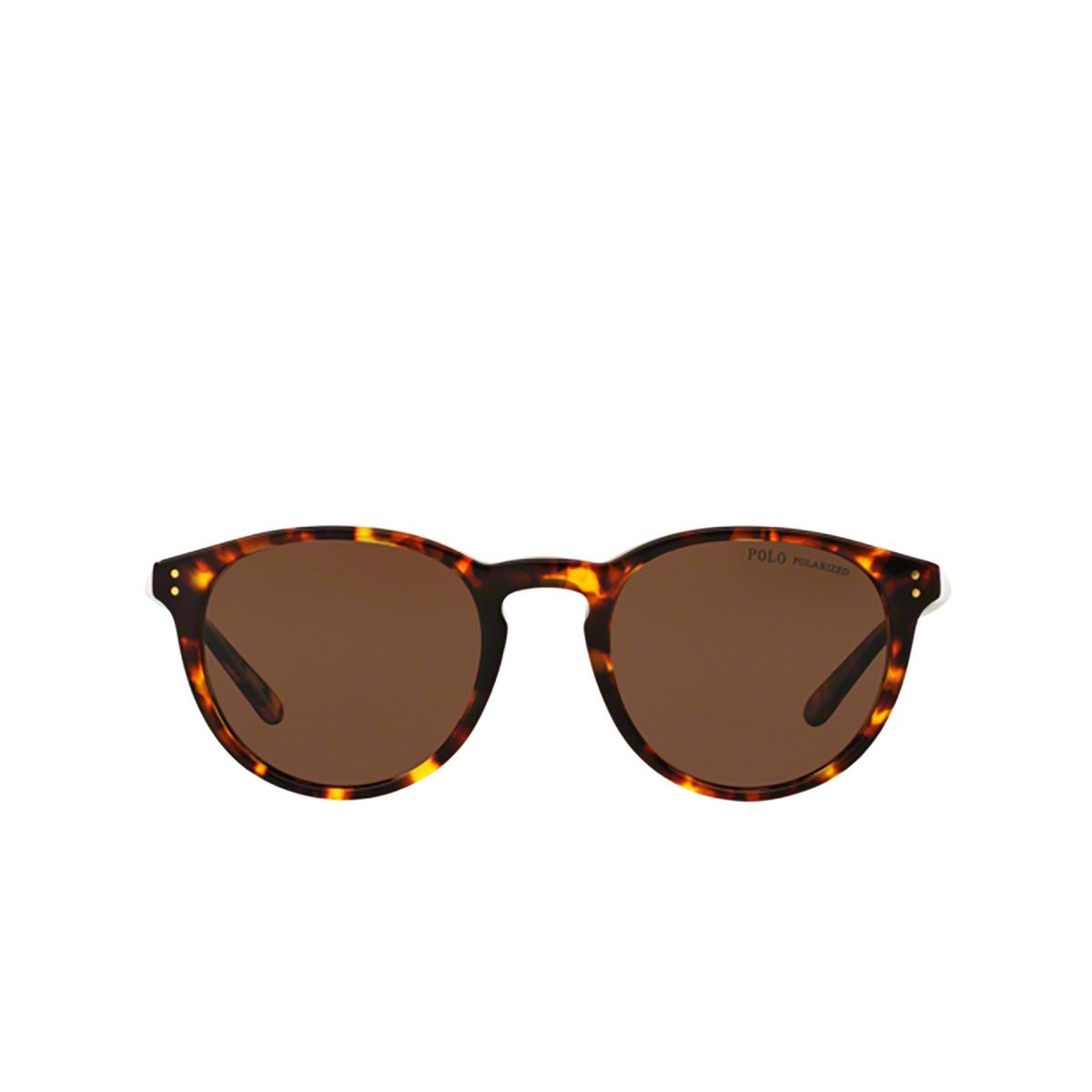 Polo Ralph Lauren® Round Sunglasses: PH4110 color Shiny Antique Havana 513473 - front view.