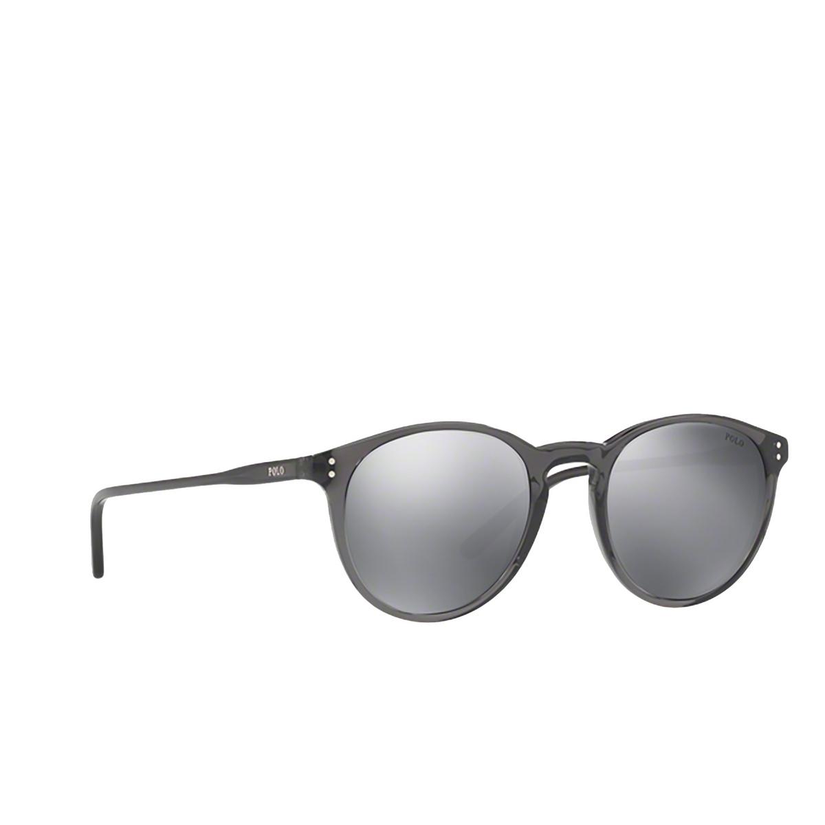 Polo Ralph Lauren® Round Sunglasses: PH4110 color Shiny Black Crystal 55366G - three-quarters view.